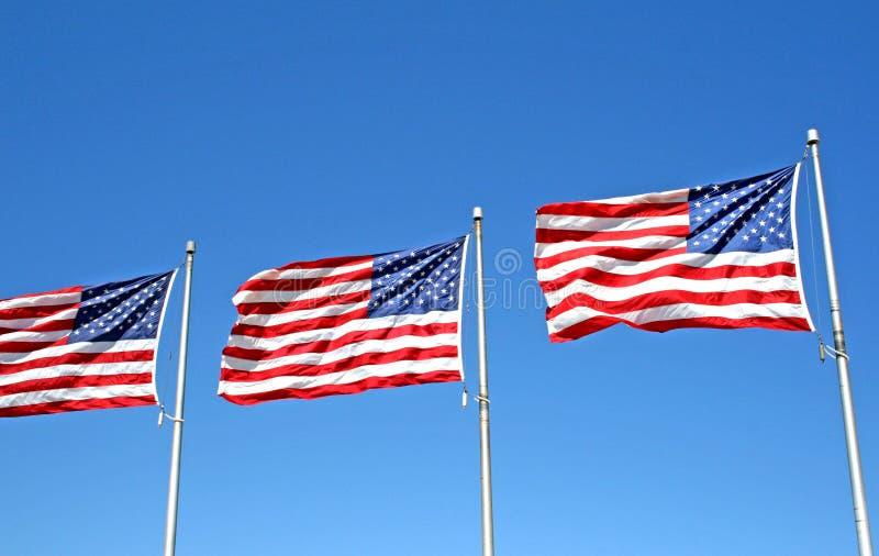 Drie vlaggen van de V.S. royalty-vrije stock fotografie