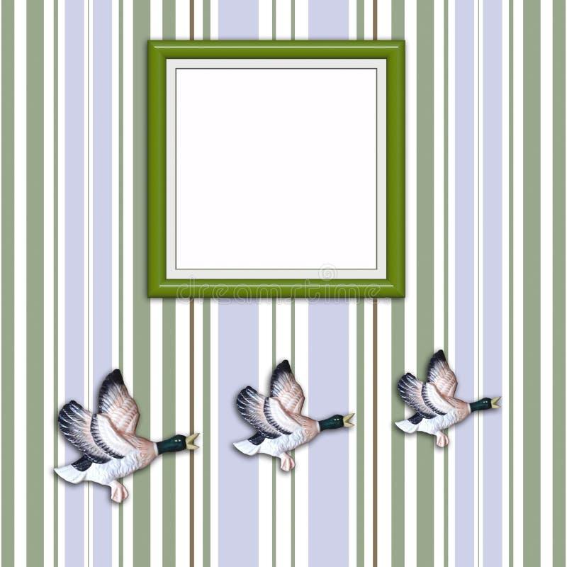 Drie vliegende eenden met lege Omlijsting stock illustratie