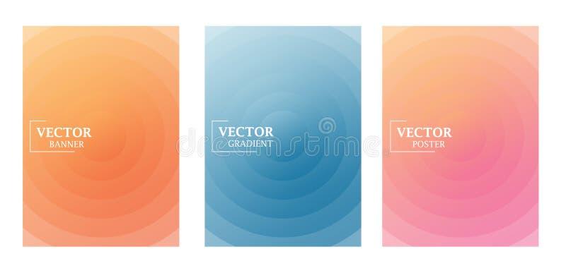 Drie vliegermalplaatjes in gevoelige pastelkleuren met gradi?nteffect Patroon met cirkels royalty-vrije illustratie