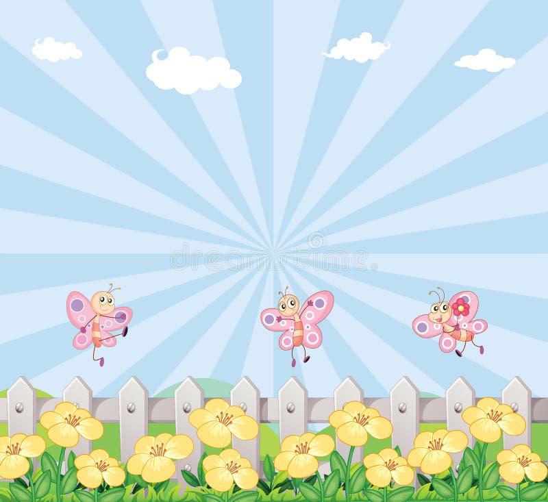 Drie vlinders bij de tuin met een houten omheining stock illustratie