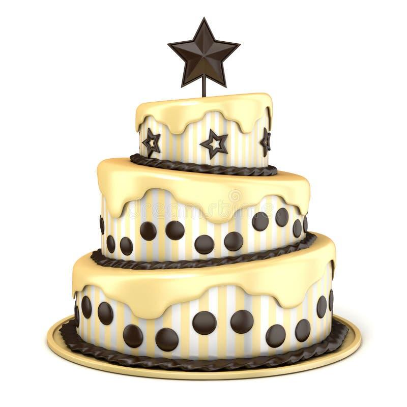 Drie vloercake met vanille en chocoladeroom het 3d teruggeven royalty-vrije illustratie