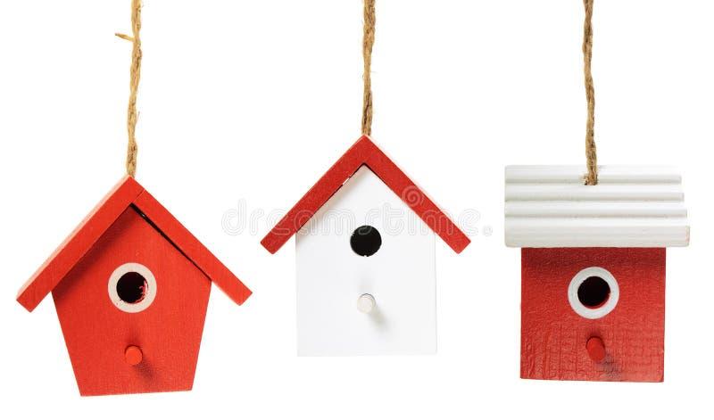 Drie vogelhuizen royalty-vrije stock afbeelding