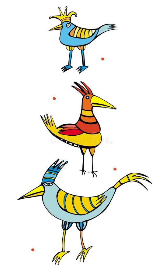 Drie vogels royalty-vrije illustratie