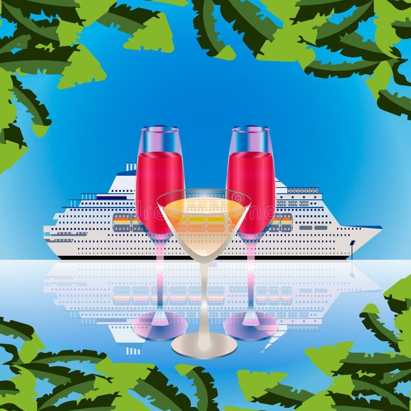 Drie volledige glazen op van het overzeese de achtergrond cruiseschip royalty-vrije illustratie