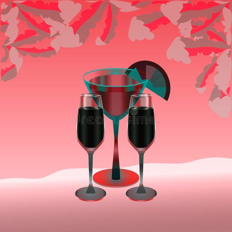 Drie volledige wijnglazen op een hete roze achtergrond stock illustratie