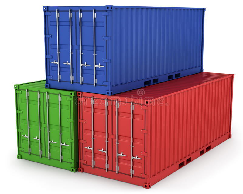 Drie vrachtcontainers royalty-vrije illustratie