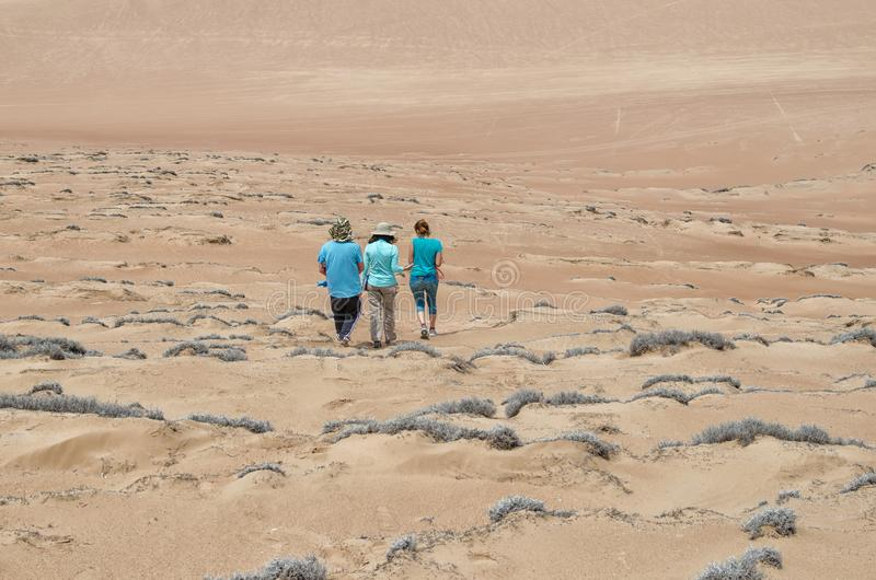 Drie vrienden die in de woestijn lopen stock foto
