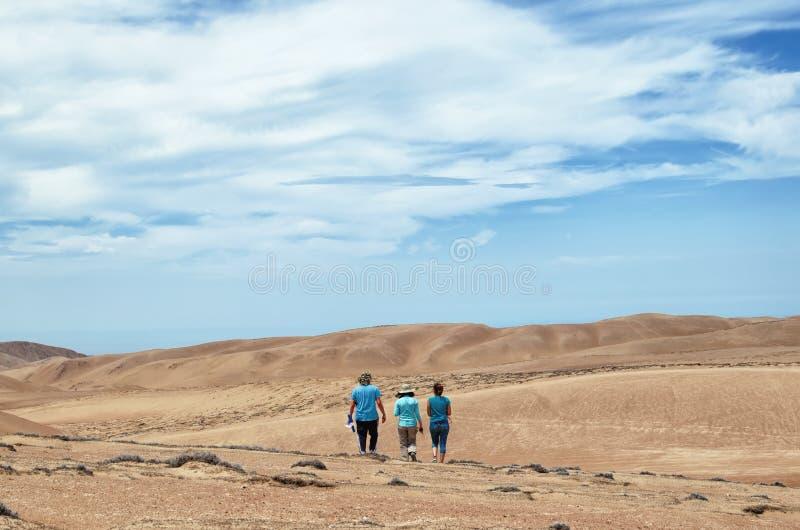 Drie vrienden die in de woestijn lopen royalty-vrije stock fotografie