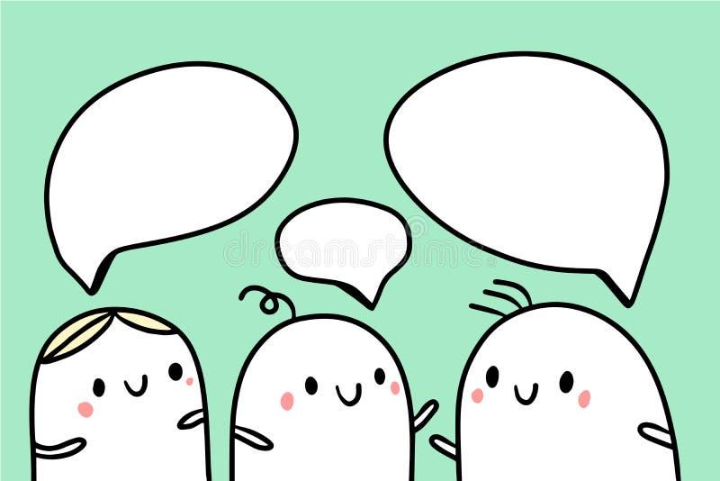 Drie vrienden die illustratie met leuke heemst en toespraakbellen spreken vector illustratie