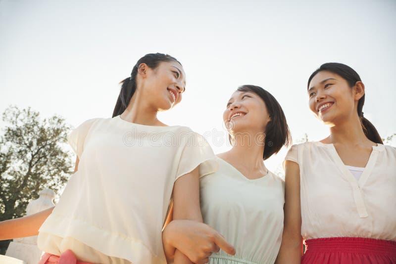 Drie Vrienden het Lopen stock foto