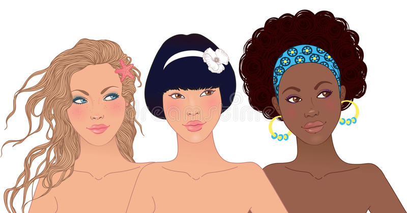 Drie vrij gelukkige tienermeisjes royalty-vrije illustratie