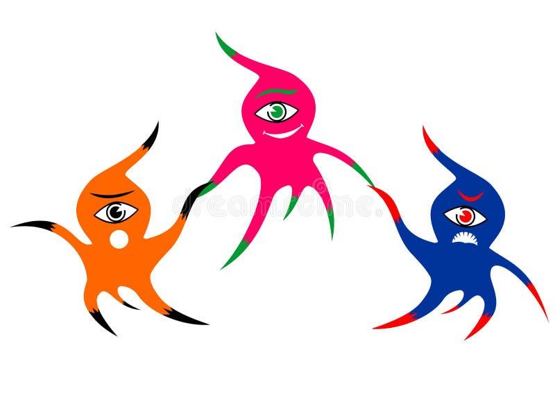 Drie vrolijke kleurrijke eenogige monsters royalty-vrije illustratie