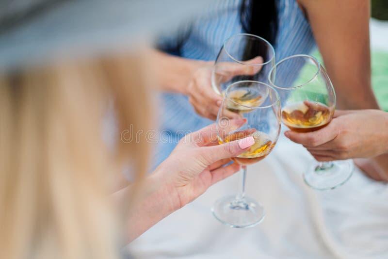 Drie vrouwelijke handen met glazen witte wijn Toost, gelukwensen op een openluchtpicknick Het concept ontspanning stock foto