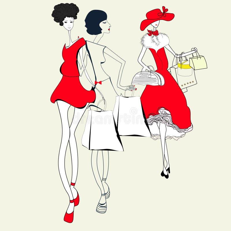 Drie vrouwen vector illustratie