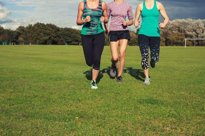 Drie vrouwen die in het park lopen royalty-vrije stock foto's