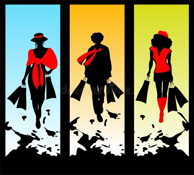 Drie vrouwen en het winkelen stock illustratie