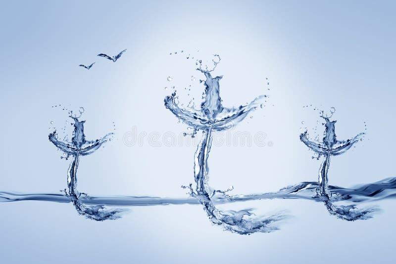Drie Waterkruisen en Vogels royalty-vrije stock afbeelding