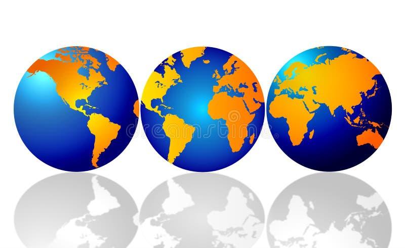 Drie wereldbollen van de aarde vector illustratie