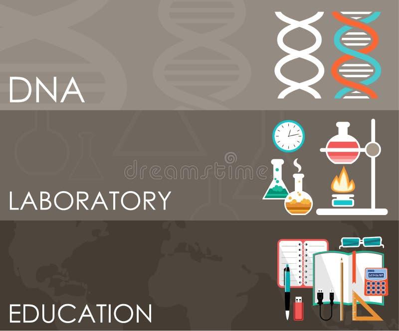 Drie wetenschapsbanners Infographics vector illustratie