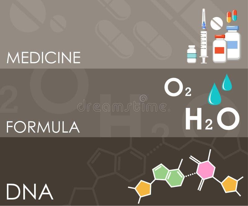 Drie wetenschapsbanners Infographics stock illustratie