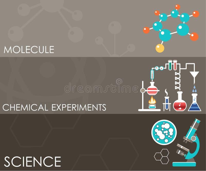 Drie wetenschapsbanners Infographics royalty-vrije illustratie