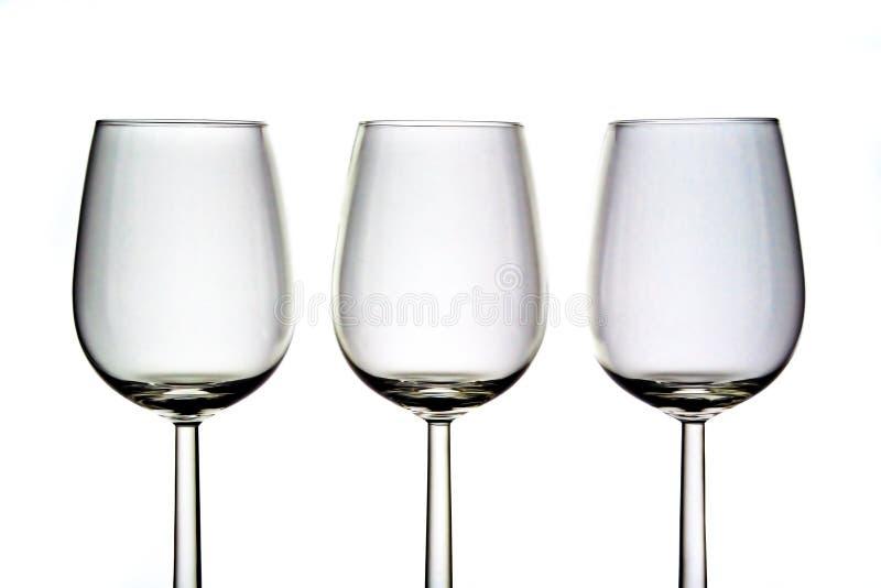 Drie wijnglazen royalty-vrije stock fotografie