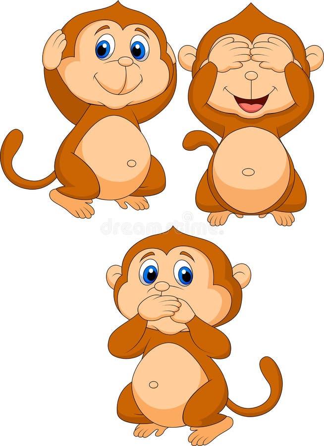 Drie wijs aapbeeldverhaal stock illustratie