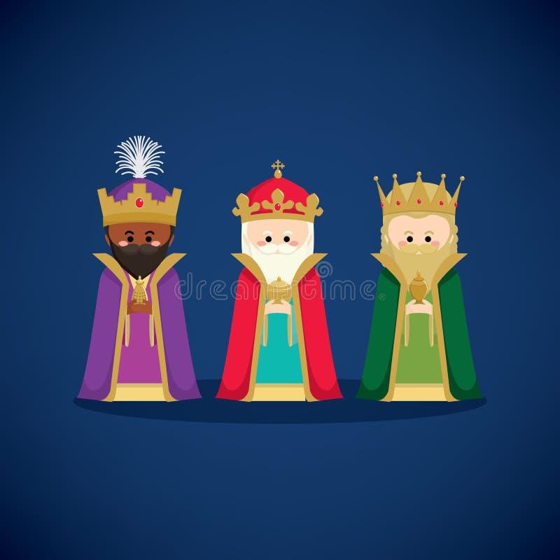 Drie wijzen die giften brengen aan Jesus vector illustratie