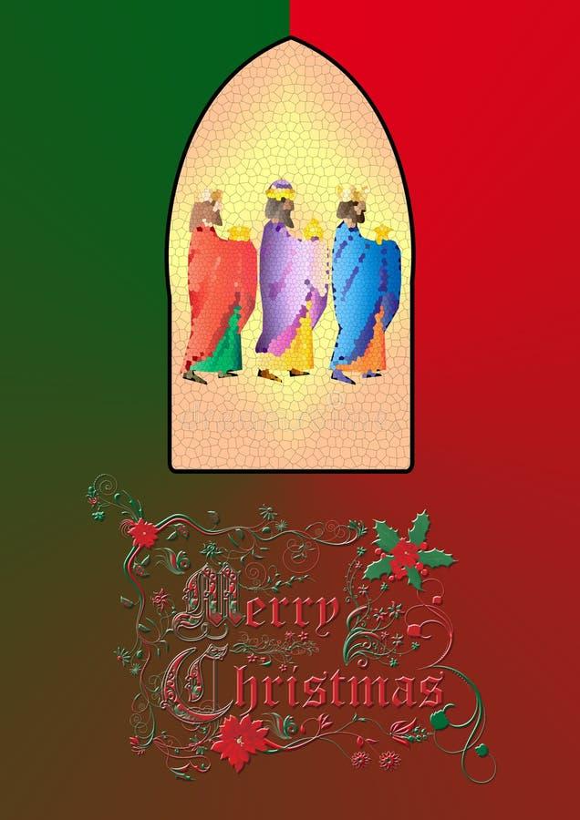 drie wijzen of drie koningen Geboorte van Christusillustratie royalty-vrije illustratie