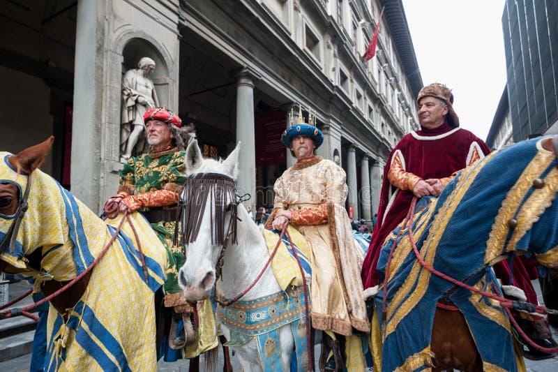 Drie Wijzen op horseback, in Florence stock afbeelding