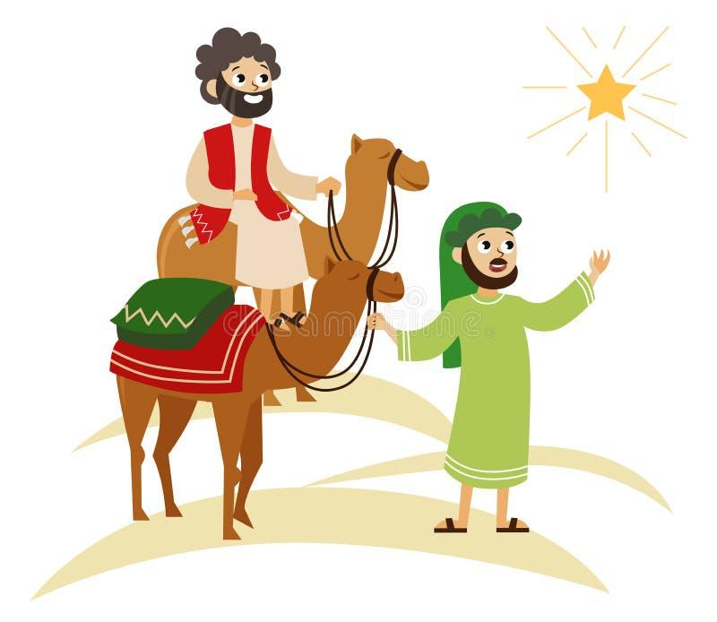 Drie wijzen op kamelen die naar Bethlehem gaan stock illustratie