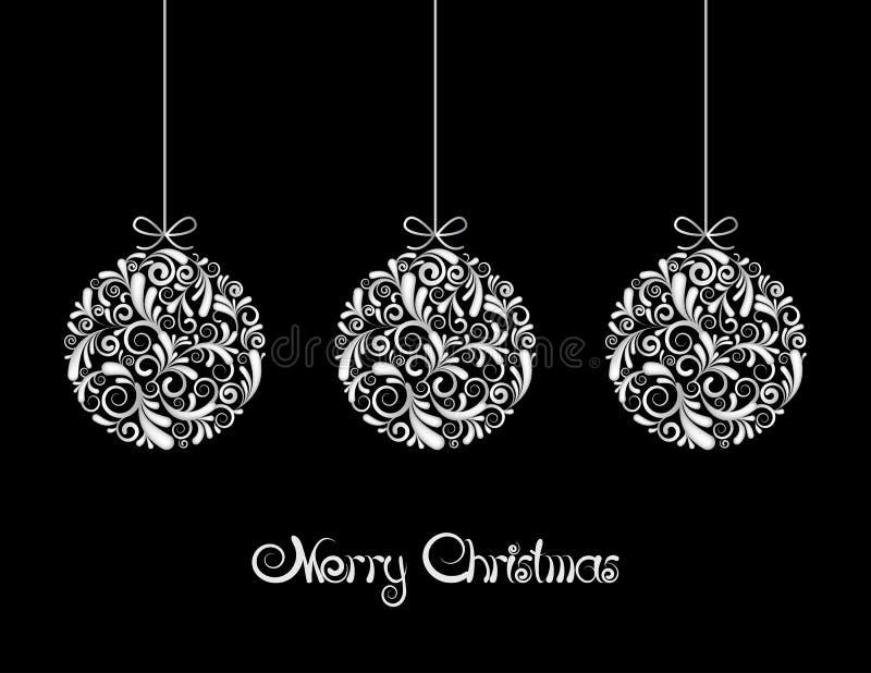 Drie Witte ballen van Kerstmis op zwarte achtergrond. royalty-vrije illustratie
