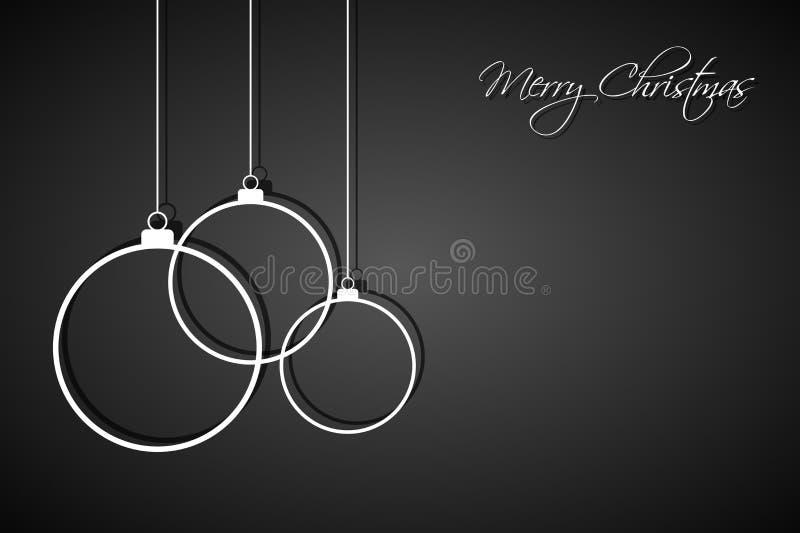 Drie witte Kerstmisballen op zwarte achtergrond, vakantiekaart vector illustratie