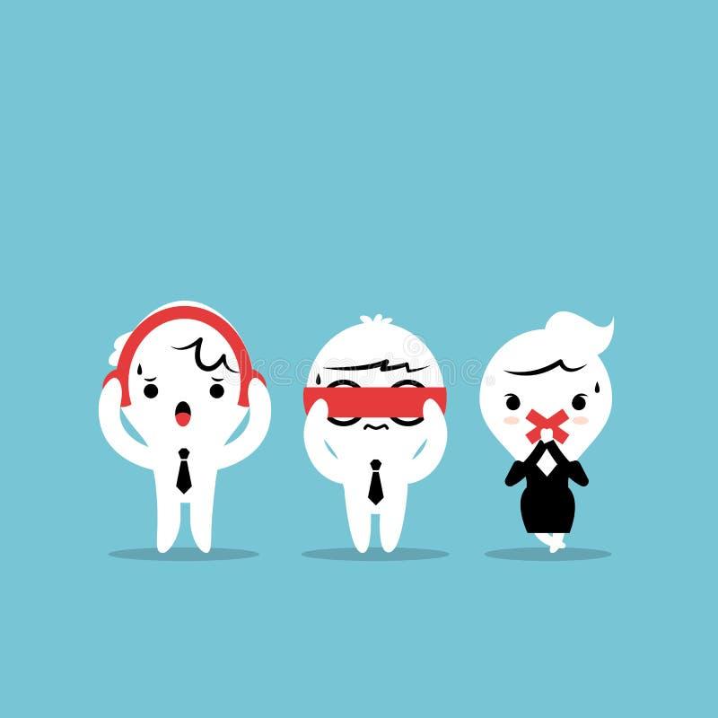 Drie zakenliedenbeeldverhaal - Drie wijze apen Se vector illustratie