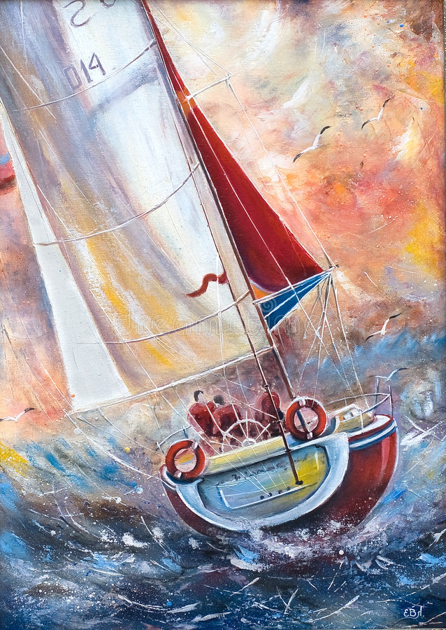 Drie zeelieden op een boot stock illustratie