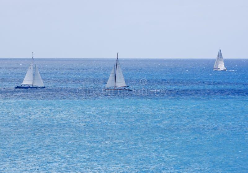 Drie Zeilboten op Briljant Blauw Water royalty-vrije stock foto's
