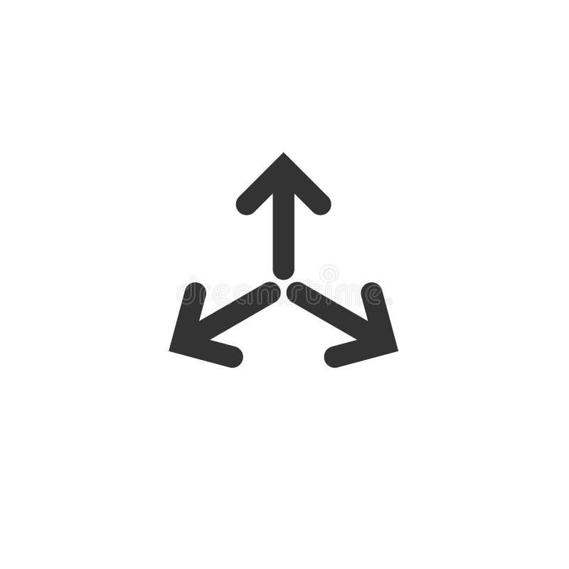 Drie zwart pijlenpunt aan het centrum in cirkel Het drievoud komt Pijlenpictogram in botsing Het pictogram van fusierichtingen Ve royalty-vrije illustratie