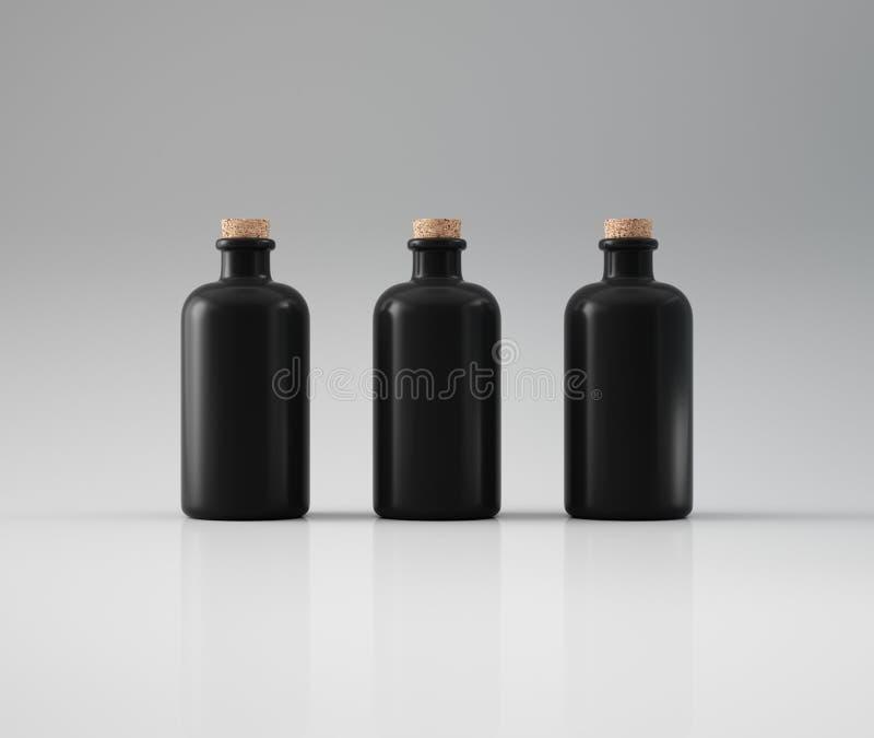 Drie zwarte boten met cork royalty-vrije illustratie