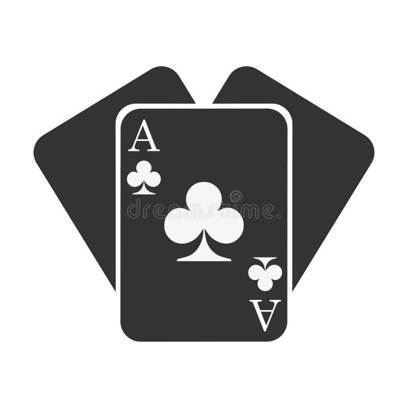 Drie zwarte clubskaarten Het pictogram van het kaartkostuum royalty-vrije illustratie