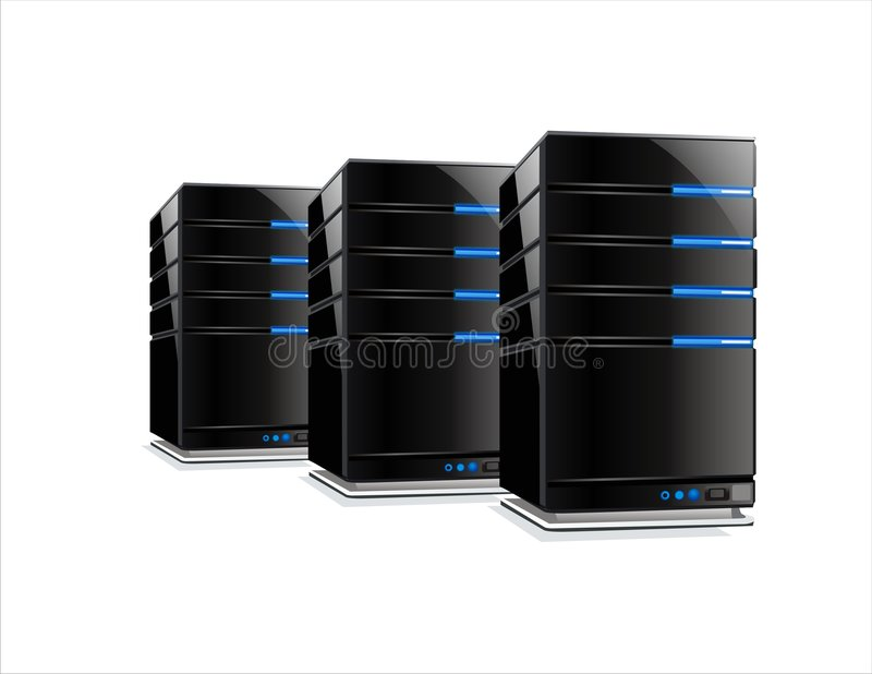 Drie zwarte computerservers vector illustratie