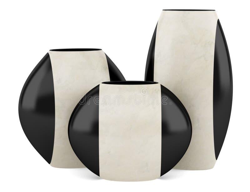 Drie zwarte en beige ceramische die vazen op wit worden geïsoleerd royalty-vrije illustratie