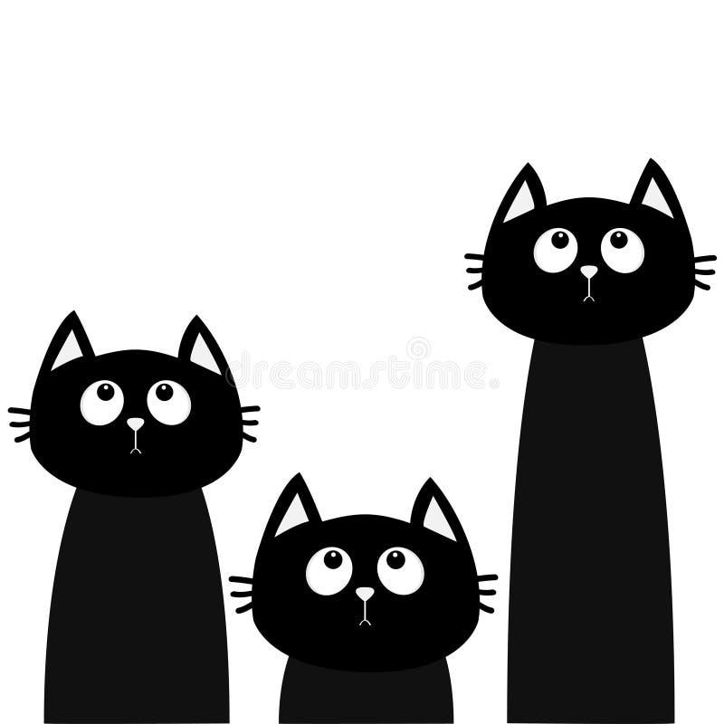 Drie zwarte kattenreeks die omhoog eruit zien Vrienden voor altijd Leuk beeldverhaalkarakter Kawaiidier De groetkaart van de lief royalty-vrije illustratie