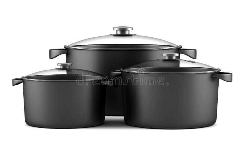 Drie zwarte kokende pannen die op wit worden geïsoleerdn stock illustratie