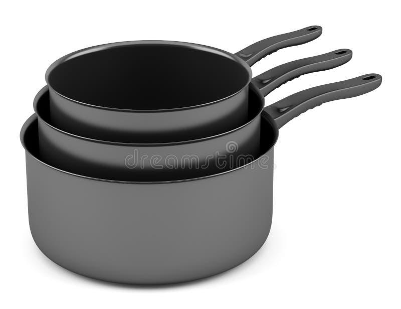 Drie zwarte kokende potten op wit royalty-vrije illustratie