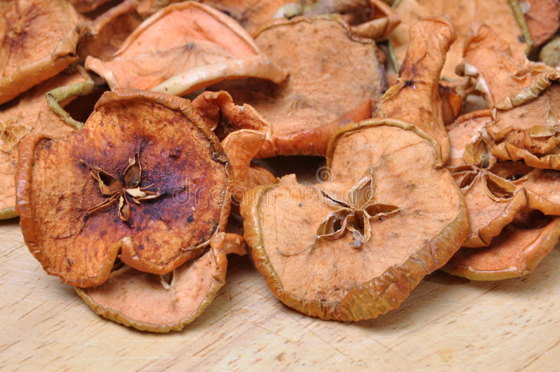 Dried apples with mold. On the worktop stock photography