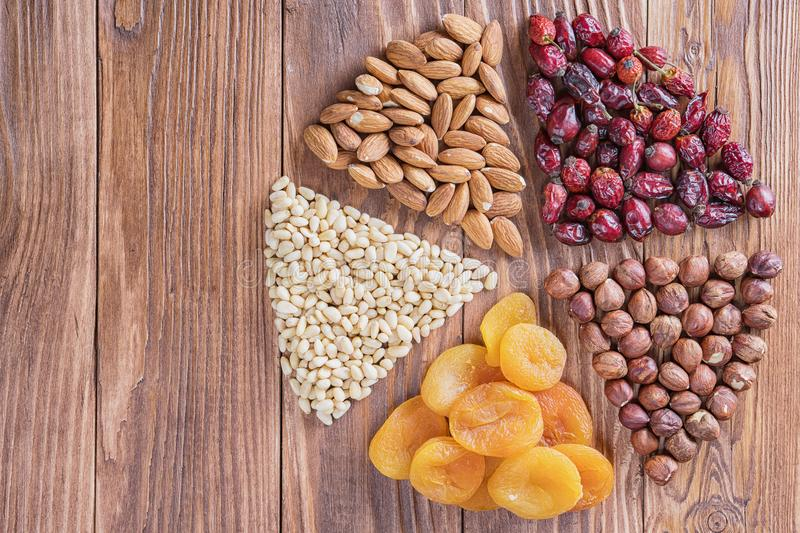 Mix of nuts, dried fruits stock image