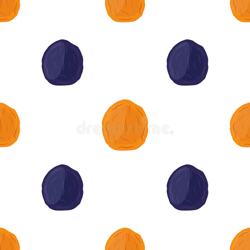 Dried apricots and prunes seamless pattern in cartoon flat style. Vegetarian snack. Healthy organic food vector illustration