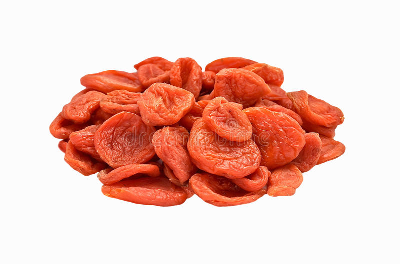 Dried apricots on white background isolated stock photos
