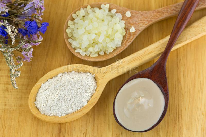 Dried Australian Clay Powder and mixed clay mask with aromatic b royalty free stock photos