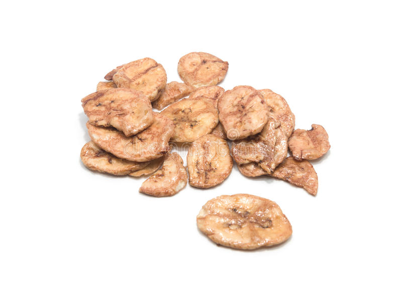 Dried banana slice on white background. Dried banana slice on white background royalty free stock photos
